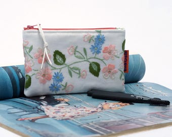 Small Cosmetic Bag - Embroidered Zip Pouch - Small Makeup bag for Purse - Handmade by EllaOsix