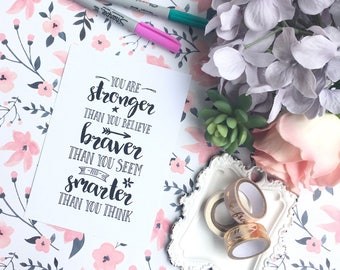 You are stronger than you believe PRINT 5x7 cardstock print for framing