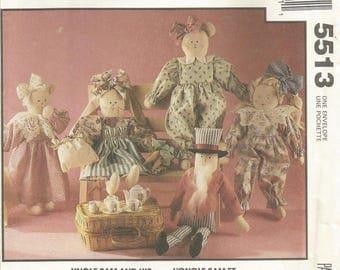 McCalls 5513 Sewing Pattern, Stuffed Dolls, Stuffed Rabbit, Stuffed Uncle Sam, Stuffed Cat, Stuffed Bear, Doll Pattern, Sewing Supplies