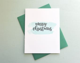 Letterpress and Watercolor Holiday Card - Merry Christmas Card - HOL-548