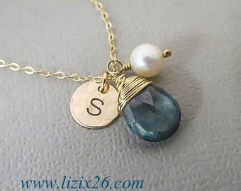 ON SALE Personalized Necklace, Wire Wrapped Gemstone Necklace, Birthstone Necklace with Pearl, Gold Fill Necklace, Stamped Initial Necklace,