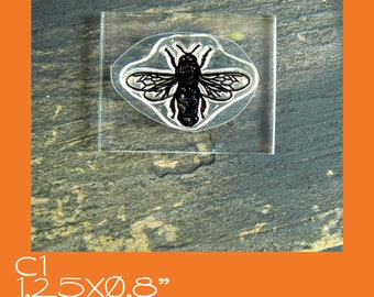 C1 Bee crystal clear rubber stamp, mounted
