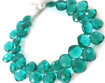 Gorgeous aqua green colored hydro quartz faceted cushion