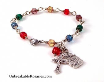 Nativity Christmas Rosary Bracelet Wire-Wrapped Rainbow Czech Cathedral Glass by  Unbreakable Rosaries