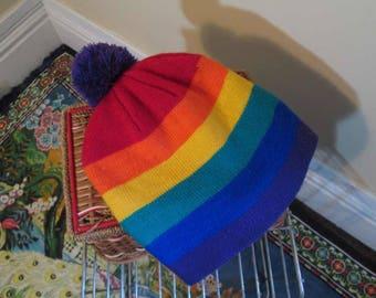 Vintage 80s Rainbow knit Hat rainbow stripes beanie 80s Winter Beanie Hat acrylic knit Purple Pom Pom Gay slouchy hat classic beanie