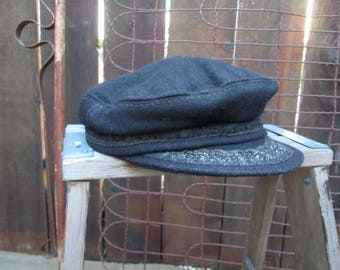 60s Vintage Greek Fishermans Hat Aegean Cap Captain Navy wool Anchor button captain hat 7 1/8
