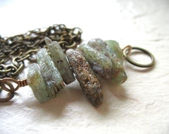 Kyanite Bracelet, Green Kyanite Antiqued Brass Chain Bracelet, Handmade Artisan Gemstone Jewelry,