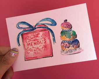 Courtesan Au Chocolat Mends the grand budapest hotel watercolor postcard / post-crossing