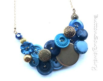 Light Blue, Navy Blue, and Brass Vintage Button Necklace Statement Necklace Button Jewelry