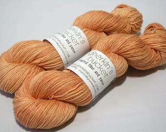 "Hand Painted Artisan Yarn, ""Say Cheese"" colorway (#81517), COTTON/SW Merino Wool Yarn, Cotton Sheep Sock"