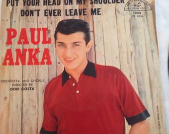 PAUL ANKA Put Your Head On My Shoulder 45rpm w/Picture Sleeve ABC-Paramount 1959