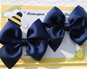 Navy Piggy Tail Bows - Navy Blue Bow Clips - Set of 2 Navy Hair Bows - Nautical Hair Bow - Pigtail Hair Clip - Navy Piggies - School Uniform