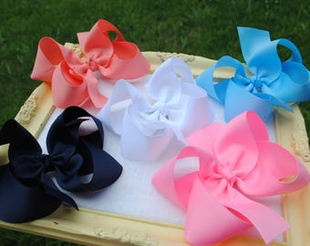 """5"""" Boutique Hair Bow Set - Large Bow Clips - 4"""" Boutique Bow Pack - Pick 4 or 5 Inch Bow - Back to School - Uniform Hair Bow - Basic Hairbow"""
