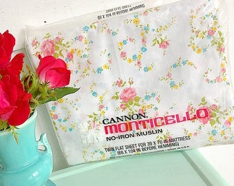 Sweet Dreams... Vintage Cannon Monticello Floral Twin Flat Bed Sheet Bedding New Old Stock In Original Packaging