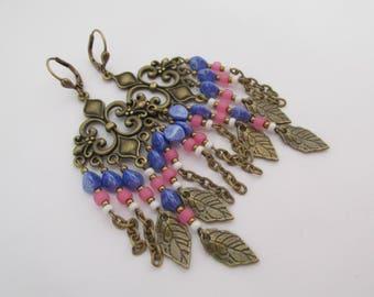 Leaf Charm Boho Chandelier Earrings