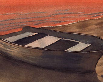 I Rowed My Boat to Shore MINIATURE WATERCOLOR painting ACEO