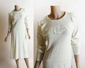 Vintage Knit Dress - 1980s Cream Off White Loose Fit Knit Dress with Crochet Lace Neckline - Long Sleeve - Medium Large