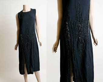 Vintage 1920s Dress - Black Crepe with Beaded Details - Top Shell Over Dress Overlay Front Slits - Flapper Art Deco Formal Lawn Gown