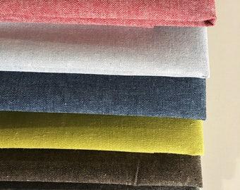 Linen Fabric, Essex Yarn Dyed Linen fabric bundle, Dress Fabric, Toddler Dress Fabric, Quilt Bundle, Robert Kaufman, Fabric bundle of 6