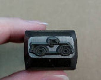 Design Stamp - Vintage Truck by WonderStruck Studios - 1/8 inch (3mm) - includes How to Stamp Metal tutorial