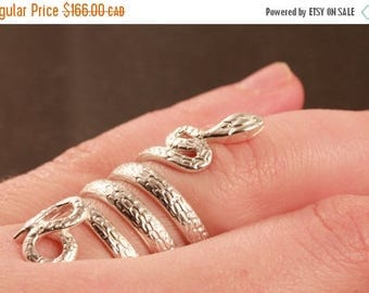 CLOSING SALE Snake wrap ring in sterling silver size 8