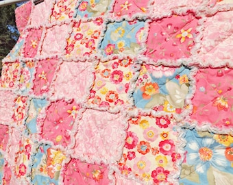 Floral Baby Rag Quilt  - Pink and Blue Crib Rag Quilt - Handmade - Toddler Quilt - Crib Quilt - Pretty Flowers Baby Quilt