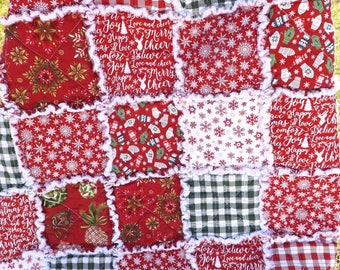 Rag Quilt - Christmas Lap Quilt - Red, Green, White - Mittens, Snowflakes, Plaid, Ornaments - Red and White Christmas Lap Quilt