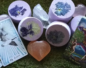 The Lovers Tarot Card Inspired Reiki-Charged Sage Bath Bomb Natural Handmade Bath Fizzy