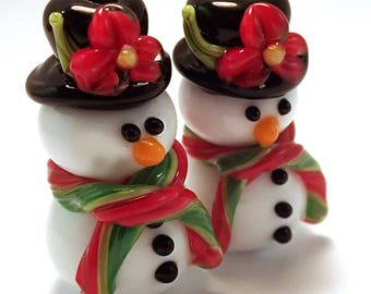 Top Hat Red and Green Floral Snowmen Pair