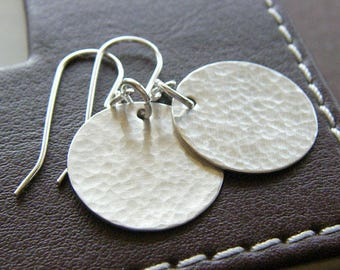 Everyday Earrings - Sterling Silver Hammered Circle Earrings