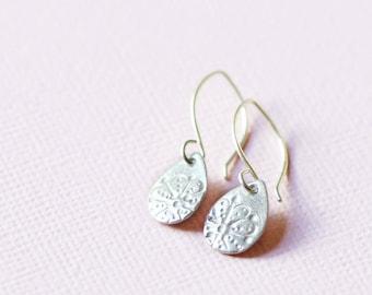 silver teardrop earrings, sterling and fine silver, aya