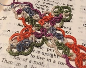 Tatted Cross Bookmark heirloom colorful variegated