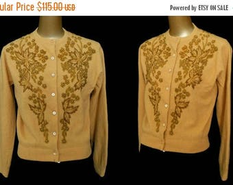 ON SALE Vintage 50s Cardigan Sweater, 1950s Hand Beaded Gold Lambswool Blend Sweater, Size M to L