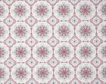 1950s Vintage Wallpaper by the Yard -  Geometric Wallpaper with Pink and Gray