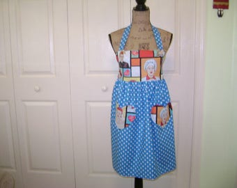 I Love Lucy Apron FREE SHIPPING  Ladies Full Length Apron In Lucy And Polka Dot Fabric