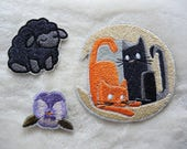 Style Choice - Machine Embroidered Cats Black Sheep Pansy Patch Badge Iron On