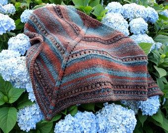 Brown Acrylic Hand Knit Triangular Stripe Shawl or Scarf