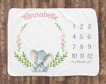 Baby Milestone Blanket- Elephant & Flowers Baby Month Blanket - Girl - Baby Blanket -Baby Shower Gift (elephant with leaves)