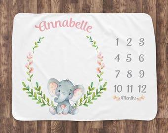 Baby Milestone Blanket- Elephant & Flowers Baby Month Blanket - Girl - Baby Blanket -Baby Shower Gift (elephant with leaves)
