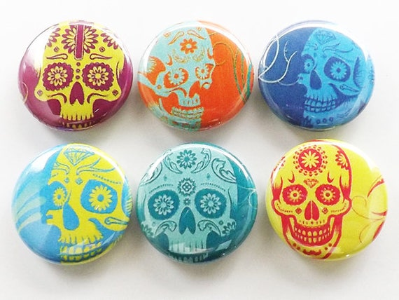 Fridge Magnets, Day of the Dead magnets, Dia de los Muertos, wedding shower favors, calavera, skeleton, button pins, coasters, sugar skulls