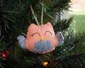 Owl ornament, mini stuffie, owl, christmas decor, stuffed animal, yule, ornament, felt ornament
