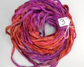Hand Painted, dyed sari ribbon, Sari silk ribbon, silk sari ribbon, orange sari ribbon, purple sari ribbon, weaving supply, tassel supply