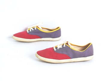 size 8.5 KEDS style COLORBLOCK canvas 80s 90s lace up SNEAKERS tennis shoes
