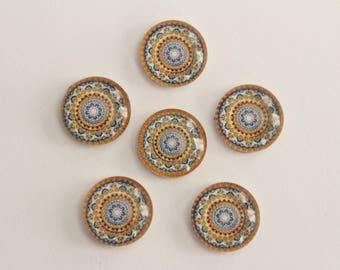 Glass Cabochons - Blue Yellow Red Mandala Design . 12mm (6)