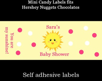 120 Personalized Baby Shower Mini Candy Bar Labels - PINK You Are My Sunshine Baby Shower - Sunshine Baby Shower - Sunshine Labels