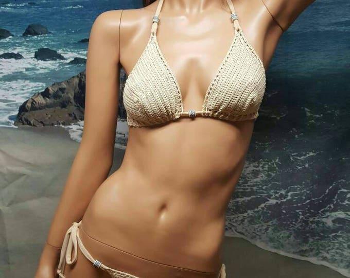 Featured listing image: Erotic Crochet, beaded Thong Bikini set