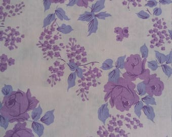 Vintage 1960s/1970s Purple Floral Sheet approx 174 x 255cm SINGLE FLAT SHEET
