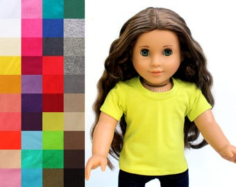 Fits like American Girl Doll Clothes - Short Sleeve Tee, You Choose Color