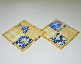 Hot Pads Blue Yellow (Set of 2)