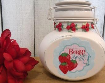 Strawberry Cherry Jars Retro style storage Cheery Berry Sweet Wire Clasp Jar Glamping trailer